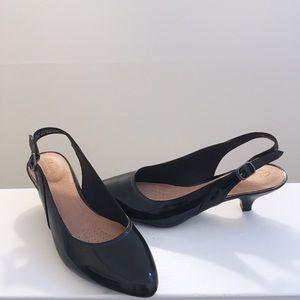 Clarks Black Patent Leather Kitten Heels